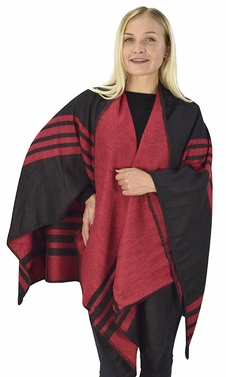 Womens Thick Warm Geometric Striped Poncho Blanket Wrap Shawl (Striped Red/Black)