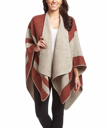 Wine Warm Geometric Striped Poncho Blanket Wrap Shawl