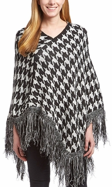 Houndstooth Trendy Thick Warm Geometric Striped Poncho Blanket Wrap Shawl