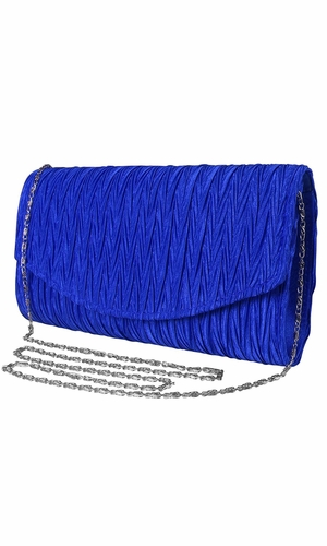 Blue Vintage Satin Pleated Envelope Evening Cocktail Wedding Party Handbag Clutch