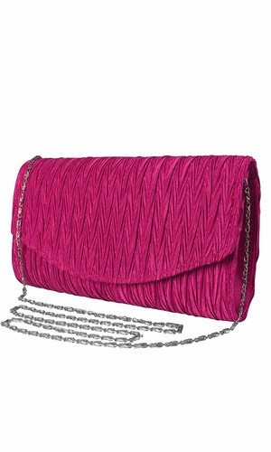 Womens Vintage Satin Pleated Envelope Evening Cocktail Wedding Party Handbag Clutch (Fuchsia)