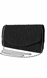 Onyx Vintage Satin Pleated Envelope Evening Cocktail Wedding Party Handbag Clutch