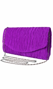 Womens Vintage Satin Pleated Envelope Evening Cocktail Wedding Party Handbag Clutch (Purple)