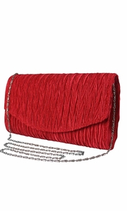 Red Vintage Satin Pleated Envelope Evening Cocktail Wedding Party Handbag Clutch