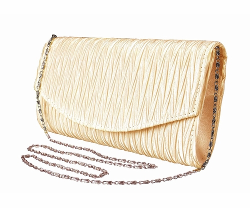 Tan Vintage Satin Pleated Envelope Evening Cocktail Wedding Party Handbag Clutch