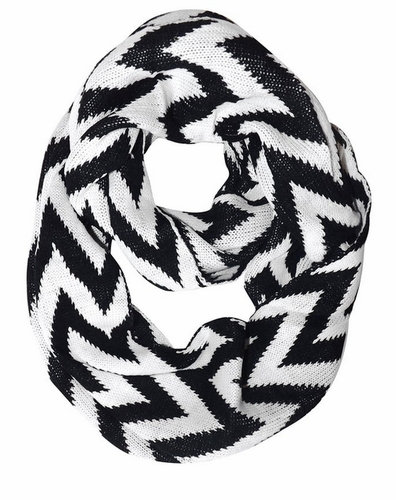 Black White Zigzag Knitted Chevron Infinity Loop Scarf