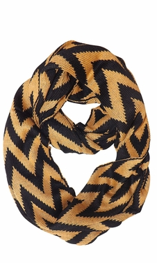 Tan Knit Chevron Infinity Loop Scarves