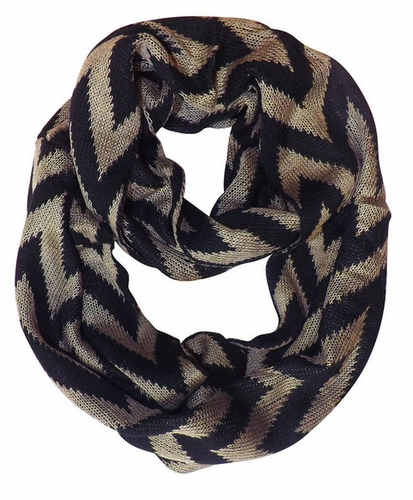 Taupe Zigzag Knitted Chevron Infinity Loop Scarf
