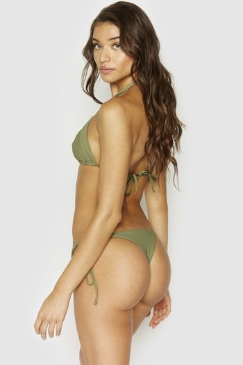 Frankies Bikini's Sky Ribbed Tie Side Bottom - Olive