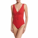 Karla Colletto Basic Lace - Up One-Piece V-Neck - Red