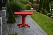 """A & L Furniture - 44"""" Round Dining Table - 4141 - Bright Red Poly"""