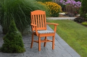 A & L Furniture - Classic Dining Chair with Arms - 4110 - Bright Orange Poly