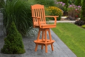 A & L Furniture - Classic Swivel Bar Chair with Arms - 4120 - Bright Orange Poly