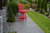 A & L Furniture - Classic Swivel Bar Chair with Arms - 4120 - Bright Red Poly
