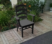 A & L Furniture - Ladderback Dining Chair with Arms - 4113 - Black Poly