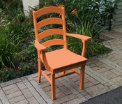 A & L Furniture - Ladderback Dining Chair with Arms - 4113 - Bright Orange Poly
