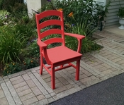A & L Furniture - Ladderback Dining Chair with Arms - 4113 - Bright Red Poly