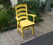 A & L Furniture - Ladderback Dining Chair with Arms - 4113 - Lemon Yellow Poly