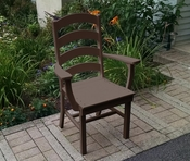 A & L Furniture - Ladderback Dining Chair with Arms - 4113 - Tudor Brown Poly