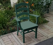 A & L Furniture - Ladderback Dining Chair with Arms - 4113 - Turf Green Poly