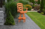 A & L Furniture - Ladderback Swivel Bar Chair with Arms - 4123 - Bright Orange Poly