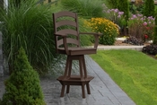 A & L Furniture - Ladderback Swivel Bar Chair with Arms - 4123 - Tudor Brown Poly