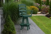 A & L Furniture - Ladderback Swivel Bar Chair with Arms - 4123 - Turf Green Poly