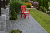 A & L Furniture - Traditional Dining Chair with Arms - 4111 - Bright Red Poly