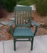 A & L Furniture - Traditional Dining Chair with Arms - 4111 - Turf Green Poly