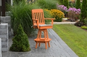 A & L Furniture - Traditional Swivel Bar Chair with Arms - 4121 - Bright Orange Poly