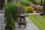 A & L Furniture - Traditional Swivel Bar Chair with Arms - 4121 - Tudor Brown Poly