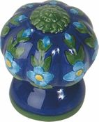 Atlas Homewares - 1A100 - D Fluted Flowers Knob 1 1/2 Inch - Ceramic