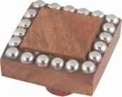 Atlas Homewares - 3104 - D Square Wood & Beaded Knob 1 1/2 Inch - Silver