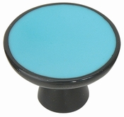Atlas Homewares - 3132-B - D Indochine Round Knob 2 Inch - Blue