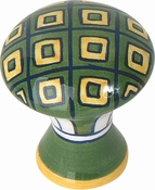 Atlas Homewares - 3B100 - D Green Yellow Geo Knob 1 1/2 Inch - Ceramic
