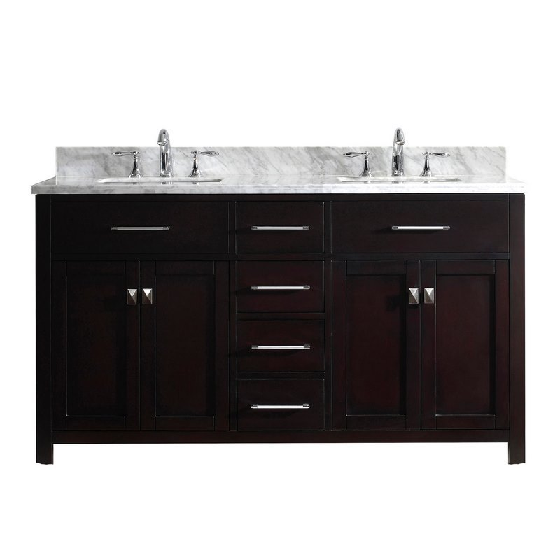 Virtu usa caroline 60 double bathroom vanity in espresso with marble top and square sink md for Caroline 60 inch double sink bathroom vanity set