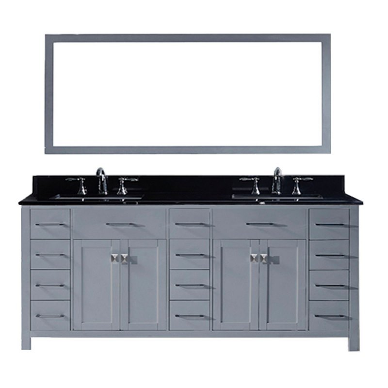 Virtu usa caroline parkway 78 double bathroom vanity in grey with black galaxy granite top for 78 double sink bathroom vanity