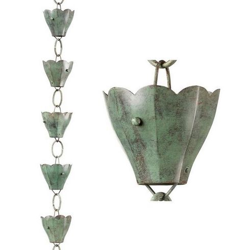 Good Directions - 13 Cup Tulip Pure Blue Verde Copper 8.5 ft. Rain Chain Leader - 463V1-8