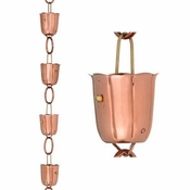 Good Directions - 14 Cup Bluebell Pure Copper 8.5 ft. Rain Chain - 461P-8