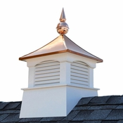"""Good Directions - 18"""" Square Coventry Vinyl Cupola with Avalon Copper Finial - 2118CV-700"""