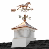 """Good Directions - 18"""" Square Coventry Vinyl Cupola with Horse Weathervane - 2118CV-1974P"""