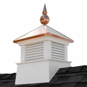"""Good Directions - 18"""" Square Manchester Vinyl Cupola with Avalon Copper Finial - 2118MV-700"""