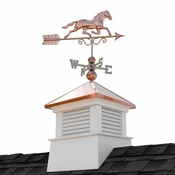 """Good Directions - 18"""" Square Manchester Vinyl Cupola with Horse Weathervane - 2118MV-1974P"""