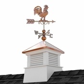"""Good Directions - 18"""" Square Manchester Vinyl Cupola with Rooster Weathervane - 2118MV-1975P"""