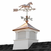 """Good Directions - 26"""" Square Coventry Vinyl Cupola with Horse Weathervane - 2126CV-1974P"""