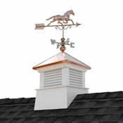 """Good Directions - 26"""" Square Manchester Vinyl Cupola with Horse Weathervane - 2126MV-1974P"""