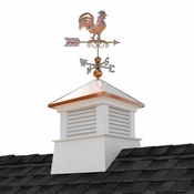 """Good Directions - 26"""" Square Manchester Vinyl Cupola with Rooster Weathervane - 2126MV-1975P"""