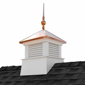 """Good Directions - 26"""" Square Manchester Vinyl Cupola with Victoria Copper Finial - 2126MV-742"""