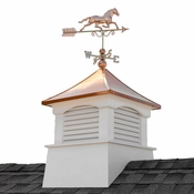 """Good Directions - 30"""" Square Coventry Vinyl Cupola with Horse Weathervane - 2130CV-1974P"""
