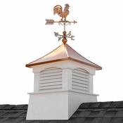 """Good Directions - 30"""" Square Coventry Vinyl Cupola with Rooster Weathervane - 2130CV-1975P"""